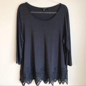 CABLE & GAUGE 3/4 Sleeve Shirt 1X